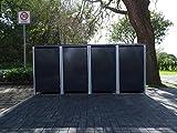 4 Mülltonnenboxen ohne Stanzung Anthrazitgrau für 120 Liter Mülltonnen / witterungsbeständig durch Pulverbeschichtung / mit Klappdeckel und Fronttür