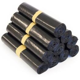 100 Stück Müllbeutel - Füllmenge 120 Liter, Farbe Müllsack Schwarz - Typ 60, 1 Rolle - 25 Stück -