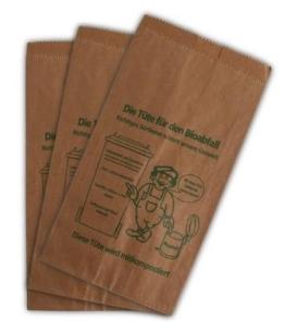 300 Bioabfalltüten Papier braun 9,5 l Biomülltüten Kompostbeutel Mülltüten Müllbeutel Bio 20 + 16 x 36 cm -