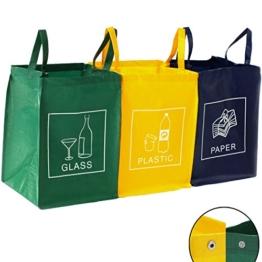 3er Set Recycling Müll Sortiertaschen Mülltrennsystem Abfalltrennsystem Abfallsammler Mülleimer Mülltrenner Mülltonne Tasche -