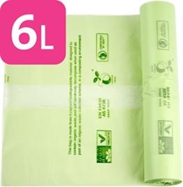 Alina 6L kompostierbar Küche Caddy Müllbeutel/Lebensmittelabfälle Kompost Müllbeutel-/biologisch abbaubar grün 6Liter Sack mit Alina kompostieranleitung, 200 bags -