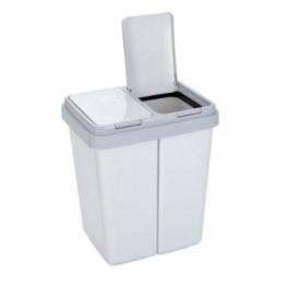 Axentia Zweimer, Müllbehälter mit 2 mal 30 Liter, Abfalleimer grau / granit, Abfallsammler für Küche, Bad, oder Kinderzimmer Abfalltrenner mit Tippdeckel, 43 (Breite) x 32 (Tiefe) x 51 (Höhe) cm, ideal füt Mülltrennung -