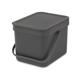 Brabantia 109720 Abfallbehälter 'Sort & Go', 6 L Abfalleimer, Plastik, grau, 24,8 x 18 x 17,9 cm -