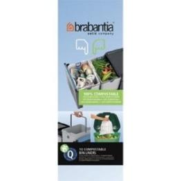 Brabantia Kompostierbare Müllbeutel, Größe Q, 18l, Rolle mit 10Stück -