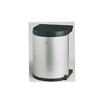 Einbau Abfallsammler-Kücheneimer 15 Liter rund - Silber Optik- schwenkbar für Schranktüren ab 40 cm Schrankbreite Unterschränke Mülleimer Küche WESCO -