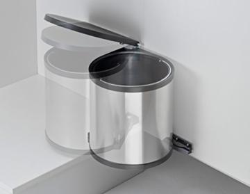 Einbauabfallsammler rund in SILBER 11 Liter Fassungsvermögen ab 40 m Schrankbreite -