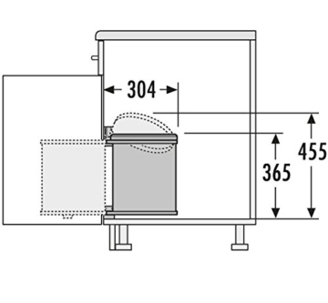 Hailo 3515001 Abfallsammler MO Swing 40.1/15 w Schränke ab 400 mm Breite mit Drehtür -