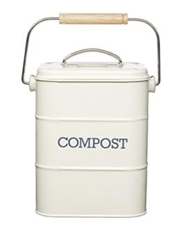 Kitchen Craft Living Nostalgia 3 Liter Edelstahl Komposteimer, Antikoptik, cremefarben -
