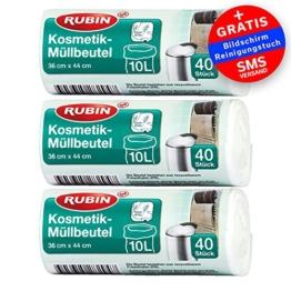 Kosmetik Müllbeutel - 10 Liter - 3er Pack - 120 Stück - Ideal für Kosmetikeimer -