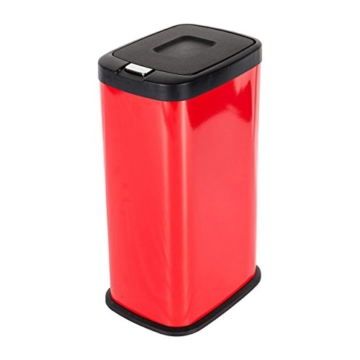 Mari Home Rot 38 Liter Pulverbeschichtet Stahl Mülltrenner Mülleimer Druckknopf-Automatik mit Inneneimer 38L -