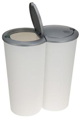 Mülleimer 50 Liter (2x25) in weiß mit praktischem Klappverschluss -