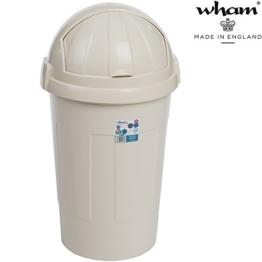 Mülleimer mit Schiebedeckel, 50 Liter, robust, 42x42 cm, creme: Abfalleimer mit Schwingdeckel Eimer Papierkorb Abfallsammler -