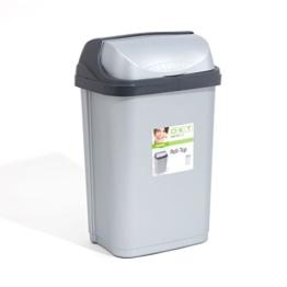 Mülleimer Mülltonne Abfalleimer Eimer Papaierkorb 25L silber Schiebedeckel -