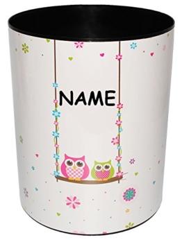 """Papierkorb / Behälter - """" Eulen auf Schaukel """" - incl. Name - aus Kunststoff - Mülleimer / Eimer - Aufbewahrungsbox für Kinder - Mädchen & Jungen - Abfalleimer - Tiere - Eule & Blumen / Blüte / Schule - für Kinderschreibtisch / Abfallbehälter Kinderzimmer - Erwachsene - lustig Comic - auch als Blumentopf nutzbar - Kunststoffeimer -"""