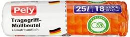 pely 8668 Tragegriff-Müllbeutel - klimafreundlich, 25 L, 18 Stück, 3-er Pack -