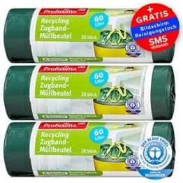 Profissimo Müllbeutel - 60 Liter (60 Stück) - Extrem Reißfest & Flüssigkeitsdicht - 3er Pack (3x20 Stück) - -