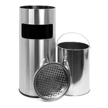 Standaschenbecher mit herausnehmbaren Mülleimer, Standabfallbehälter mit Aschenbechen für draußen, Standascher, 30 Liter in silber by Floyen Home -