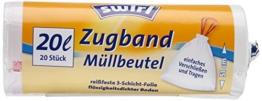 Swirl 3er Pack Müllbeutel mit Zugband, 20 Liter, 20 Stück pro Rolle, Weiß -