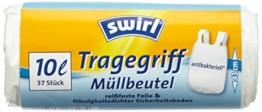 Swirl 4er Pack Müllbeutel mit Tragegriff, 10 Liter, Antibakteriell, 37 Stück pro Rolle, Weiß -