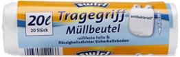 Swirl 4er Pack Müllbeutel mit Tragegriff, 20 Liter, Antibakteriell, 20 Stück pro Rolle, Weiß -