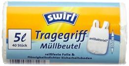 Swirl 4er Pack Müllbeutel mit Tragegriff, 5 Liter, Antibakteriell, 40 Stück pro Rolle, Weiß -
