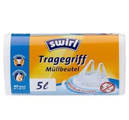 Swirl 5 l Tragegriff Müllbeutel, 4er Pack (4 x 40 Stück) -