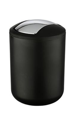 WENKO 21211100 Kosmetikeimer Brasil Schwarz S - absolut bruchsicher, Fassungsvermögen 2 L, Thermoplastischer Kunststoff (TPE), 14 x 21 x 14 cm -