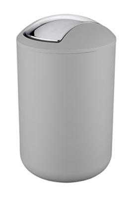 Wenko 22250100 Kosmetikeimer Brasil L absolut bruchsicher Fassungsvermögen 6,5 L, Thermoplastischer Kunststoff TPE, grau, 19,5 x 19,5 x 31 cm -