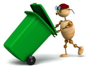 3D-Männchen schiebt Mülltonne